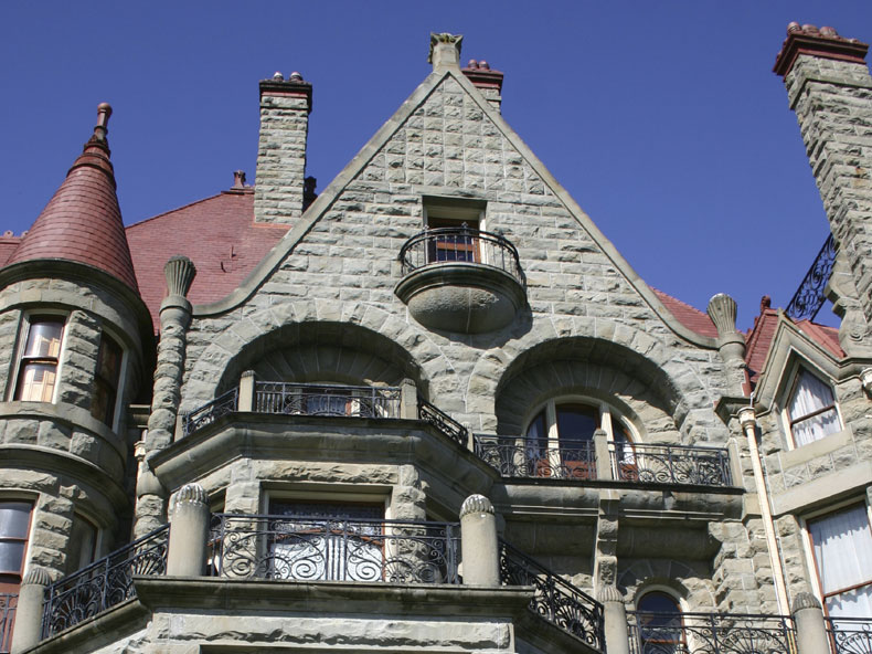 Awe-inspiring, this castle boasts 39 rooms and five stories of stained glass.